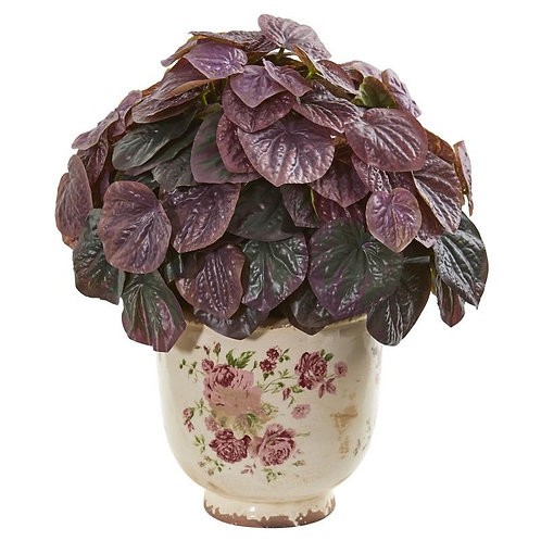 14' Peperomia Artificial Plant in Flower Print Planter (Real Touch)