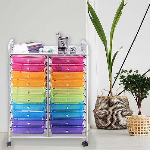 20 Drawers Storage Rolling Cart Studio Organizer-Multicolor