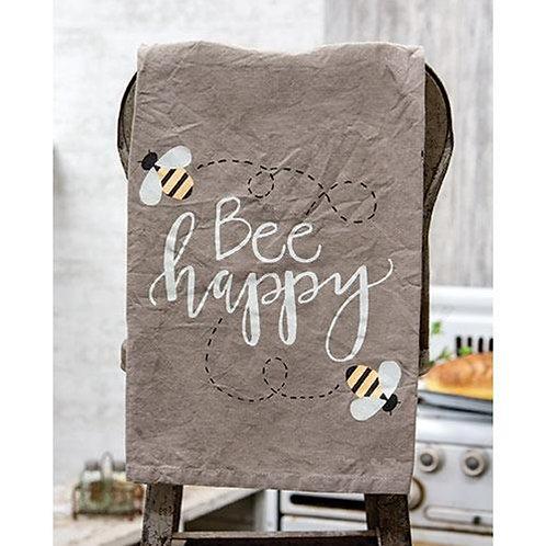 Pack of 2 Script Bee Happy Dish Towel