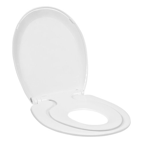 Toddlers & Adult Round Toilet Seat with Built-in Potty