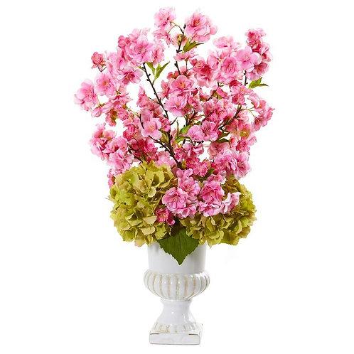 "23"" Hydrangea and Cherry Blossom Artificial Arrangement in White Urn"