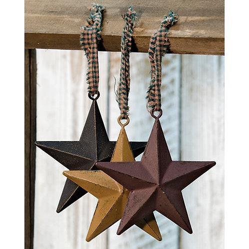 "Primitive Star Ornament 4"" 3 Asstd."