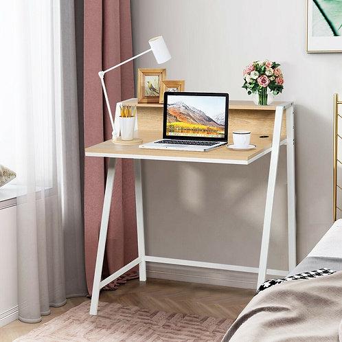 2 Tier Home Office Study Workstation Computer Desk-Natural