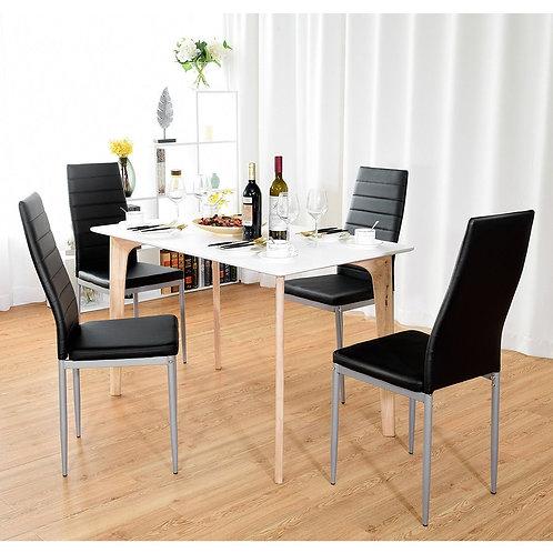 4 pcs PVC Leather Dining Side Chairs Elegant Design -Black