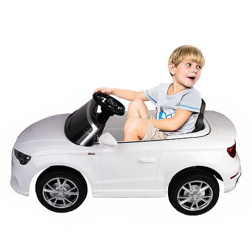12 V Audi A3 Kids Ride on Car with RC + LED Light + Music-White