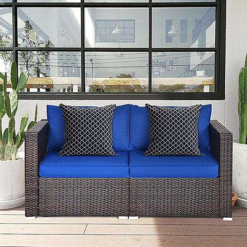2PCS Patio Rattan Sectional Conversation Sofa Set-Navy