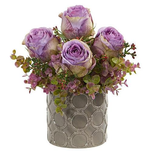 """11""""  Roses and Eucalyptus Artificial Arrangement in Designer Vase"""