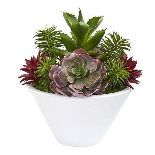 "16""  Succulent Garden Artificial Plant in White Bowl Vase"