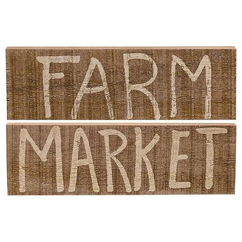 Market or Farm Wooden Block 2 Asstd.