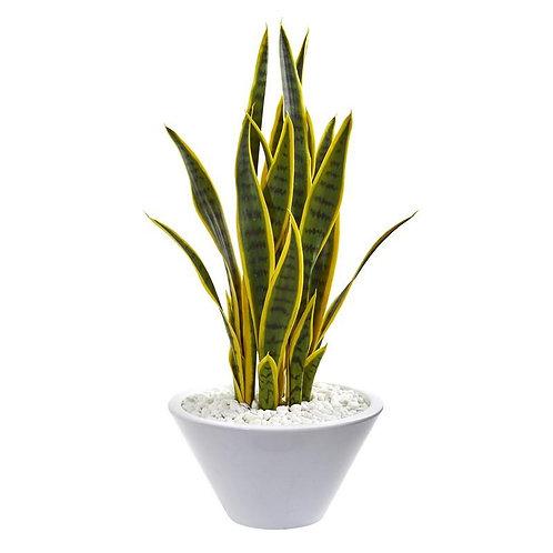 2' Sansevieria Artificial Plant in White Bowl