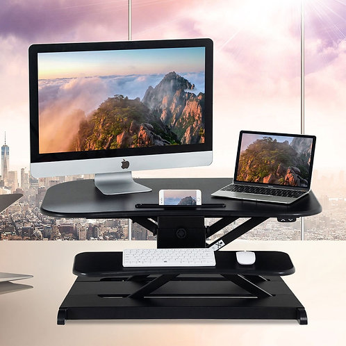 2-Tier Sit to Stand Desk with Keyboard Tray Deck-Black