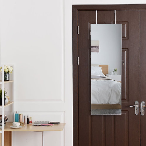 Lockable Storage Jewelry Cabinet with Frameless Mirror-White