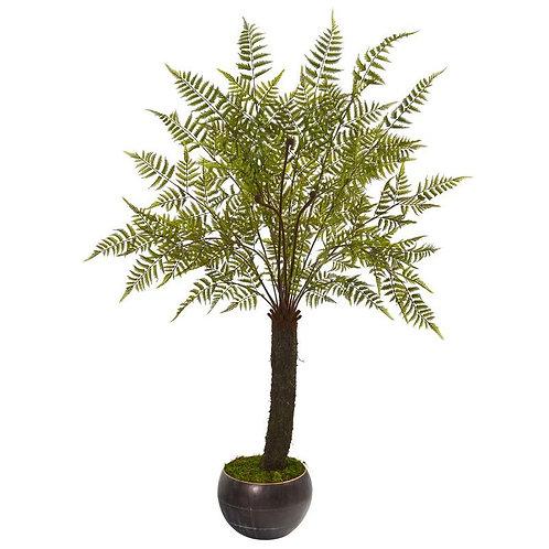 6' Fern Artificial Plant in Decorative Bowl Planter