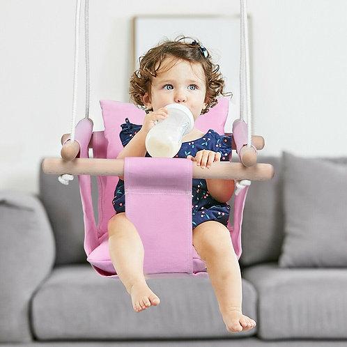 Indoor Outdoor Baby Canvas Hanging Swing-Pink