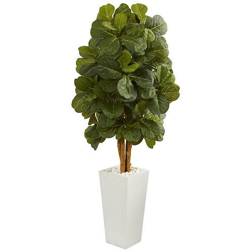 5' Fiddle Leaf Artificial Tree in White Tower Planter