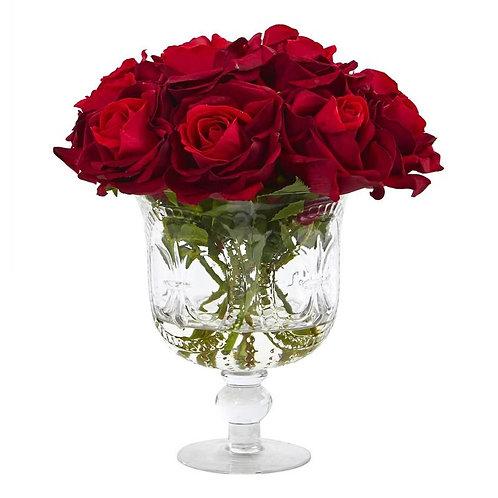 Rose Artificial Arrangement in Glass Urn