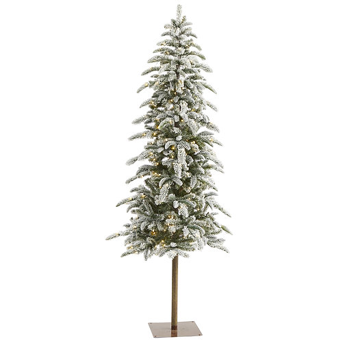 6.5' Flocked Washington Alpine Christmas Artificial Tree w/250 White Warm LED