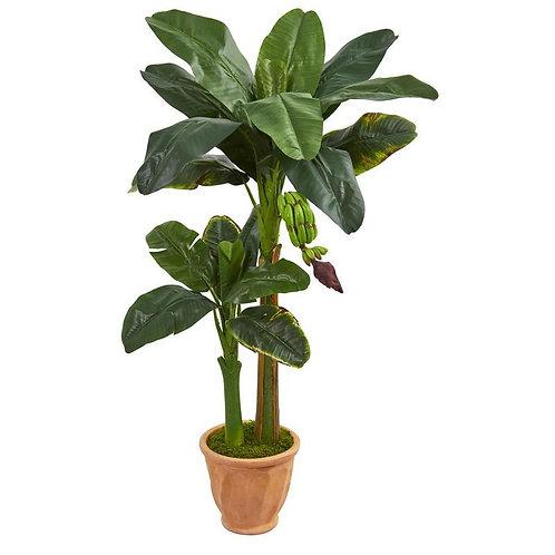 5' Double Stalk Banana Artificial Tree in Terracotta Planter