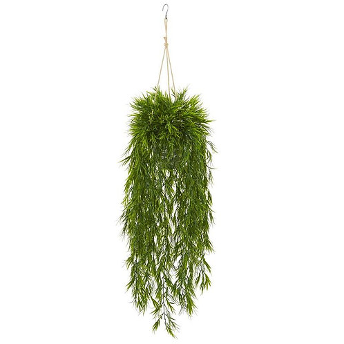 "50""  Mini Bamboo Artificial Plant in Hanging Metal Bucket"