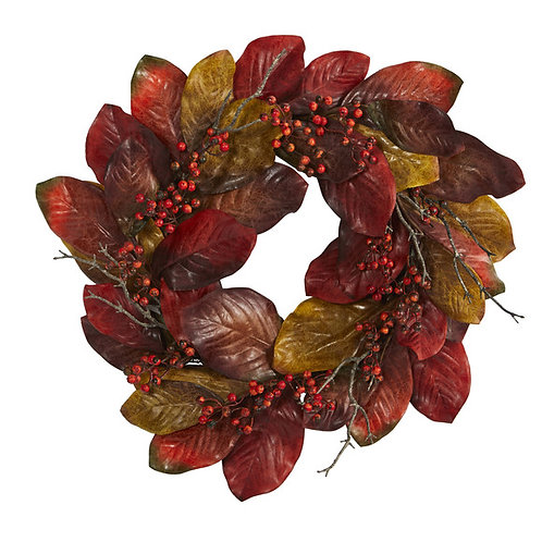 """24"""" Harvest Magnolia Leaf and Berries Artificial Wreath"""