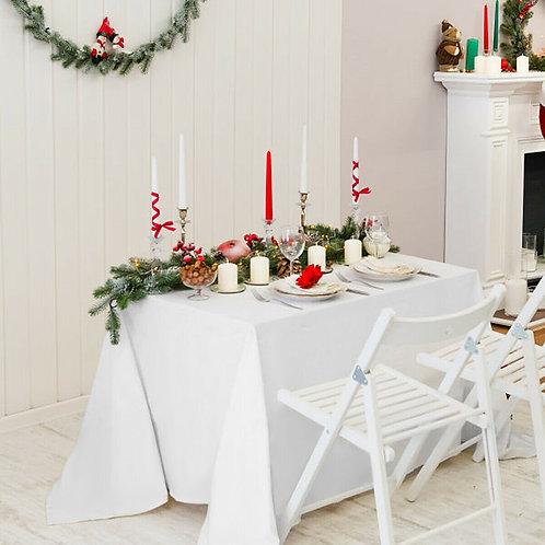 "10 pcs 90"" x 156"" Rectangle Polyester Tablecloth-White"