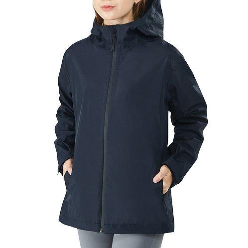 Women's Waterproof & Windproof Rain Jacket with Velcro Cuff-Navy-L
