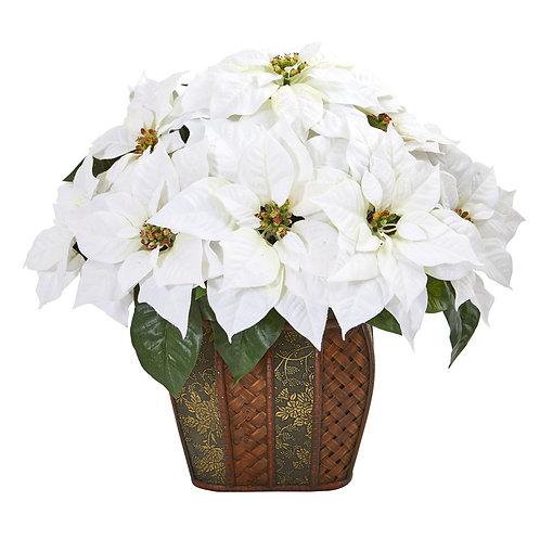 "18""  Poinsettia Artificial Arrangement in Decorative Planter"