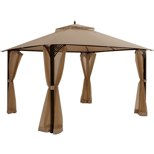12' x 10'Outdoor Double Top Patio Gazebo-Brown