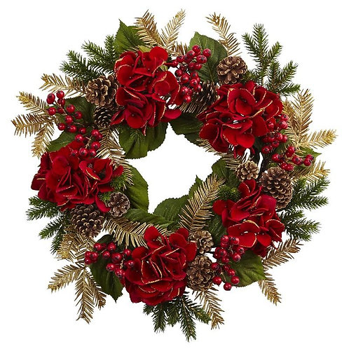 "24""  Hydrangea Pine Wreath"