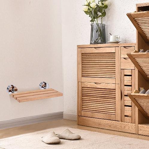 "20"" Wall Mounted Teak Wood Folding Shower Bath Seat"