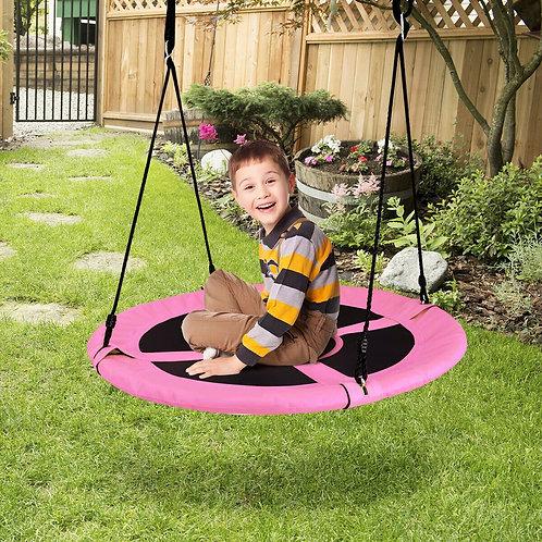"""40"""" Flying Saucer Tree Swing Indoor Outdoor Play Set-Pink"""