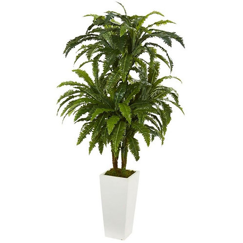 Marginatum Artificial Plant in White Tower Vase