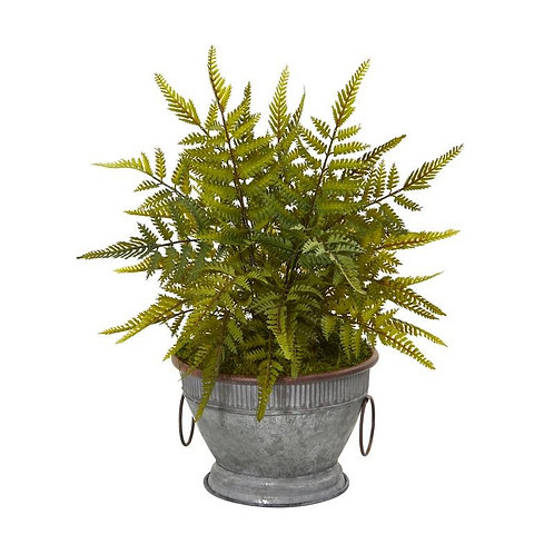 """15""""  Fern Artificial Plant in Vintage Metal Bowl with Copper Trimming"""