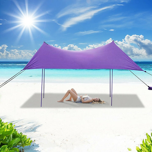 10� x 9� Family Beach Tent Canopy Sunshade w/ 4 Poles-Purple