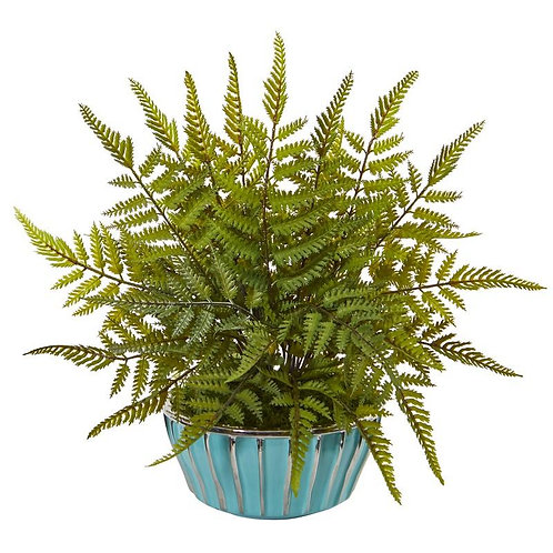 "12""  Fern Artificial Plant in Turquoise Bowl with Silver Trimming"