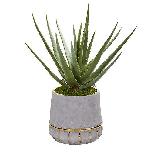 """20""""  Aloe Artificial Plant in Stoneware Planter"""