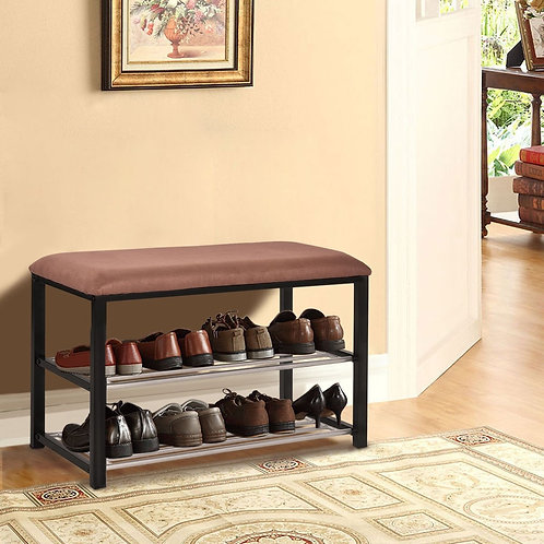 2 Tiers Shoe Storage Rack Soft Seat Bench