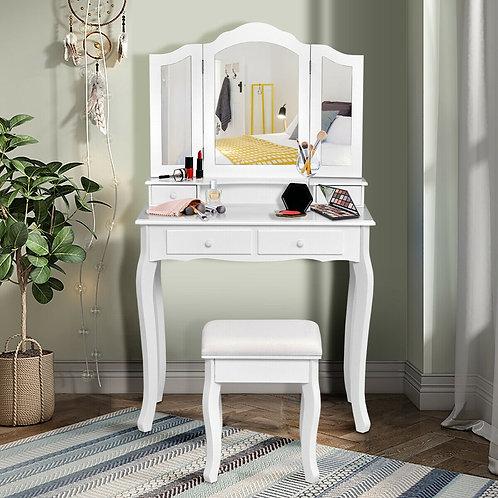 4 Drawers Mirrored Jewelry Wood Vanity Dressing Table w/ Stool-White