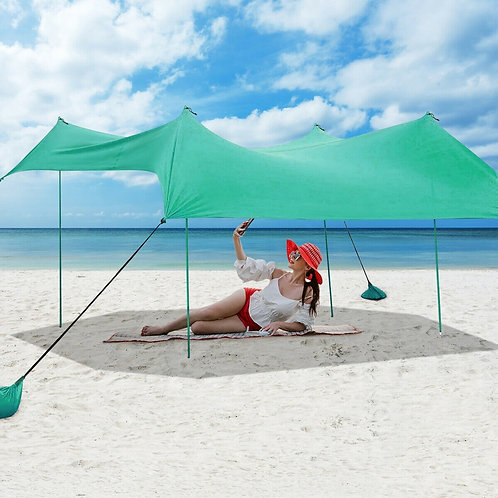 10' x 9' Family Beach Tent Canopy Sunshade w/ 4 Poles-Green