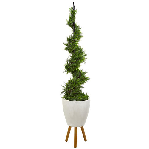 6' Cypress Artificial Spiral Topiary Tree in White Planter with Stand