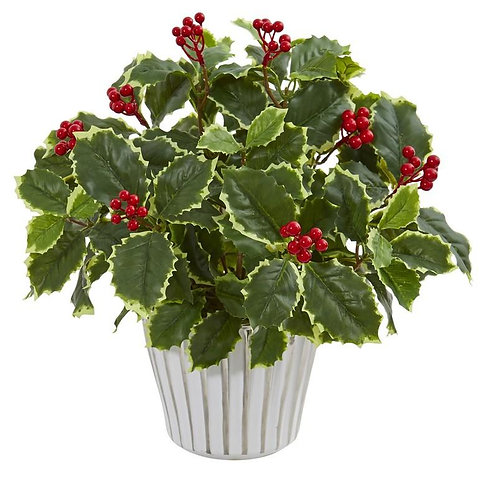 """15""""  Variegated Holly Leaf Artificial Plant in Vase (Real Touch)"""