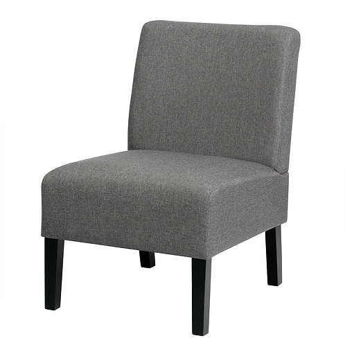 Armless Accent Chair  with Rubber Wood Legs -Gray