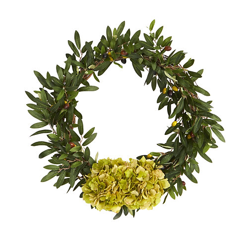 """21"""" Olive with Hydrangea Artificial Wreath"""