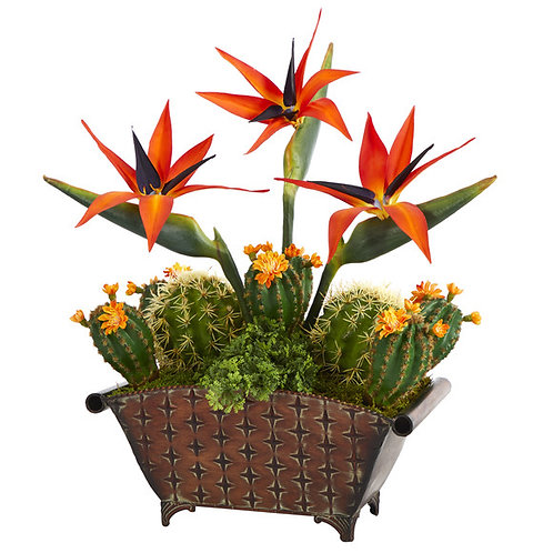 """21"""" Bird of Paradise and Cactus Artificial Plant in Metal Planter"""