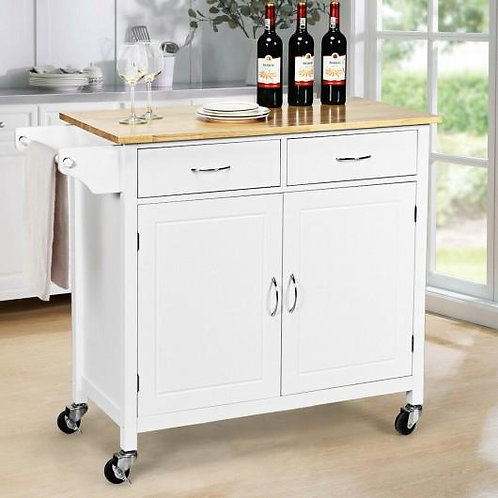 Modern Rolling Kitchen Cart Island with Wooden Top-White