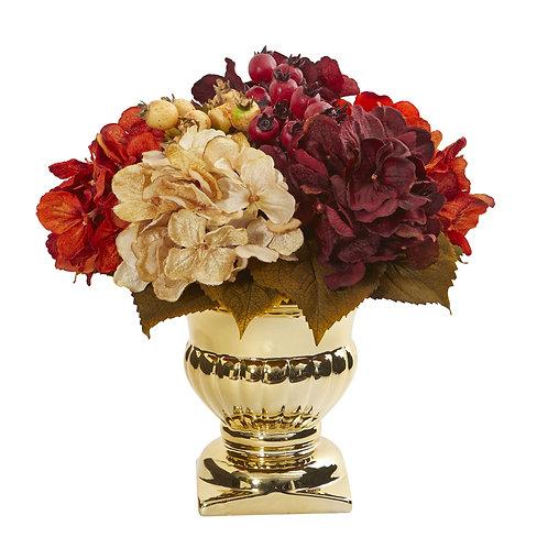 Hydrangea Berry Artificial Arrangement in Gold Urn