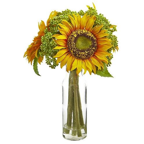 "12""  Sunflower Artificial Arrangement in Vase"