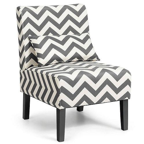Armless Single Sofa with Lumbar Pillow-Gray