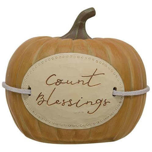Count Blessings Resin Pumpkin