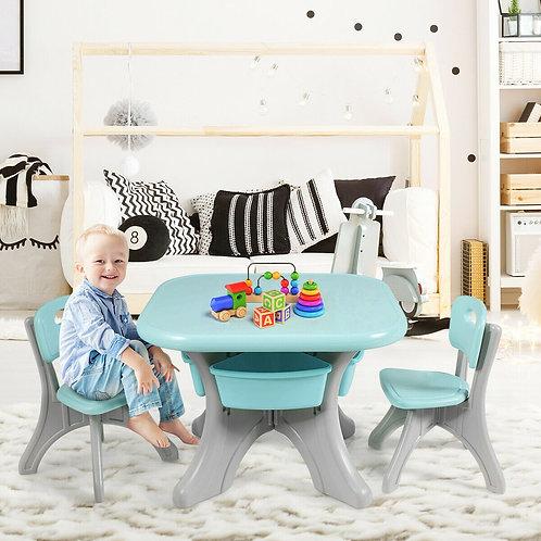 Children Kids Activity Table & Chair Set Play Furniture W/Storage-Blue